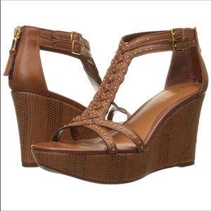 LRL Quanita sz 9 bronze leather wedge sandals